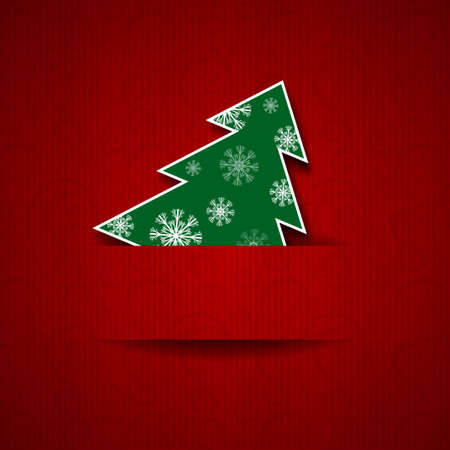 Vector illustration  Paper red background with Christmas tree