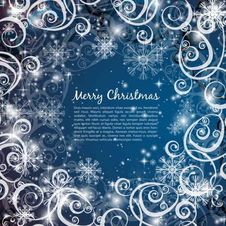 holiday: Elegant christmas blue background with snowflakes and lights