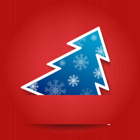 illustration  Paper red background with Christmas tree
