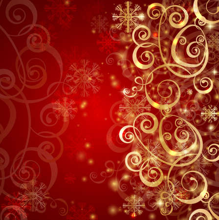 Elegant christmas red background with gold snowflakes and lights Stock Vector - 16295018