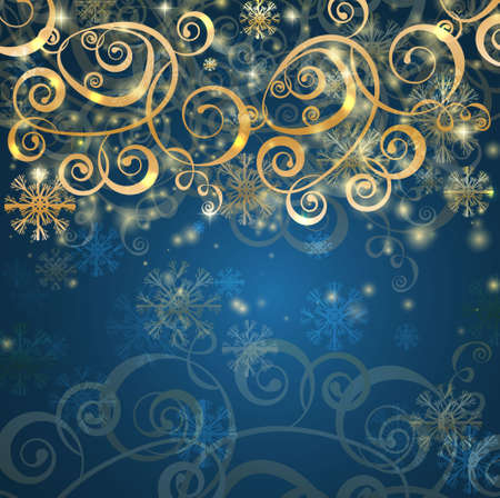 Elegant christmas blue background with snowflakes and lights