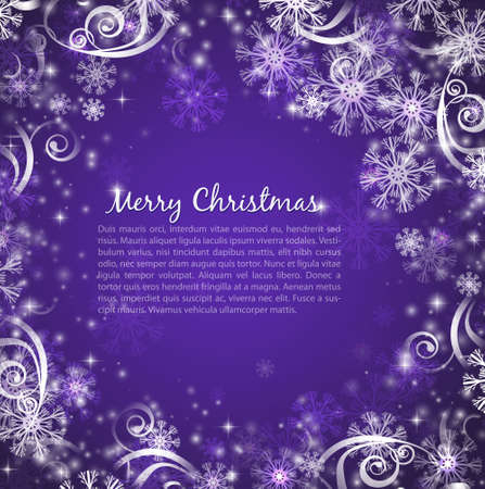 Elegant christmas purple background with snowflakes and lights Vector