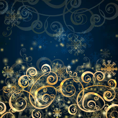 Elegant christmas dark blue with gold  background with snowflakes and lights Stock Vector - 16295016