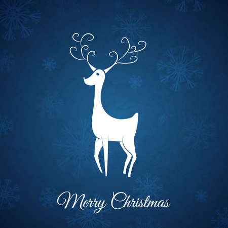Blue Christmas postcard whit hand drawn christmas deer  Vector