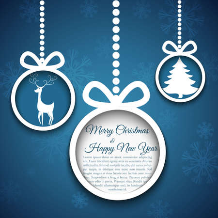 xmas tree: Christmas ball cutted from paper on blue background illustration for your design