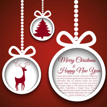 paper ball: Christmas ball cutted from paper on blue background   illustration for your design