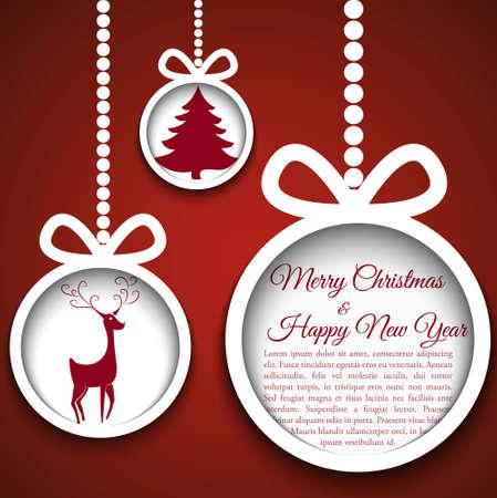 Kerst bal gesneden uit papier op blauwe achtergrond illustratie voor uw ontwerp