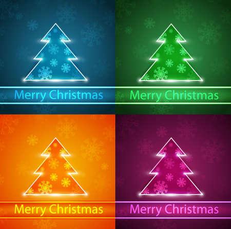 Neon Christmas trees Stock Vector - 16878784