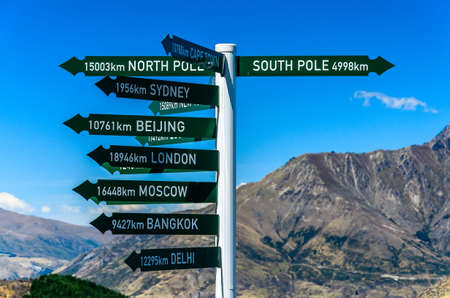 Direction sign to famous cities. Queenstown. New Zealand
