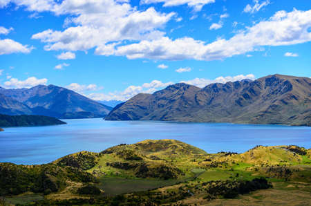 aspiring: Lake Wanaka and Mt Aspiring, New Zealand lake hill field