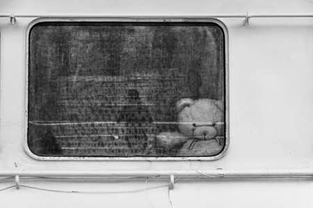 misses: In a deep depression. White bear through ship window. black white, concept Stock Photo