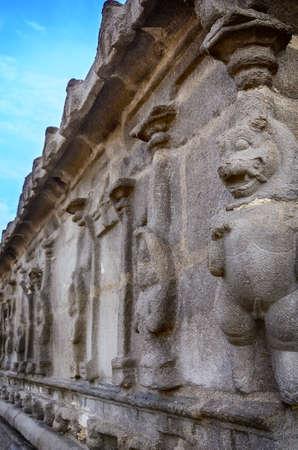 mahabalipuram: Famous Tamil Nadu landmark - Wall with lion of ancient Shore temple, world  heritage site in  Mahabalipuram, Tamil Nadu, India