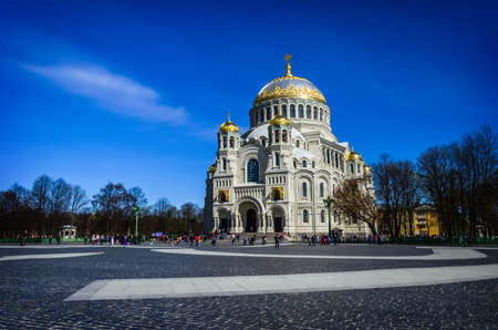 Close-up Naval cathedral of Saint Nicholas in Kronstadt is a large Russian Orthodox cathedral dedicated to all fallen seamen. Built between 1903 and 1913, designed by famous architect Vasily Kosyakov photo