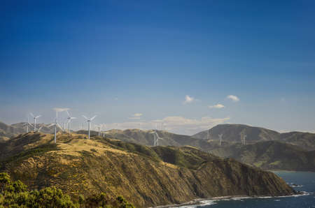 Wind Turbine farm in Wellington, New Zealand Stok Fotoğraf