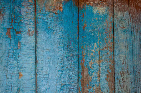 Blue grunge wood close-up background. Painted old wooden wall. photo