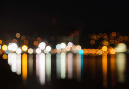 city of sunrise: Blured lights from night Wellington, New Zealand, bokeh