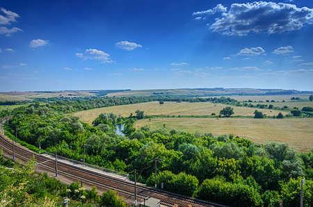 voronezh: Aerial view of Landscape of field and railroad in Divnogorie national park, Voronezh region, Russia