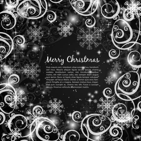 black borders: Elegant christmas black and white  background with snowflakes and lights