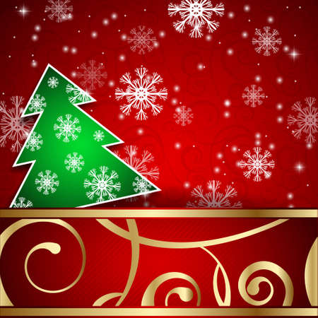 papercraft: Vector illustration: Red paper-craft horizontal postcard with green christmas tree, gold decoration and snowflakes