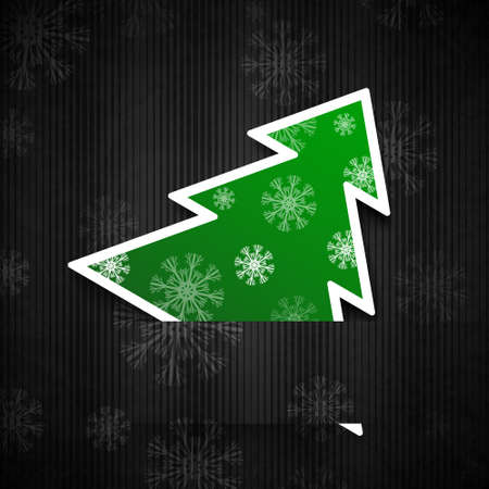 papercraft: Vector illustration: Black paper-craft postcard with greenchristmas tree