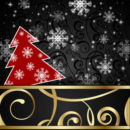 papercraft: Vector illustration: Black paper-craft horizontal postcard with redchristmas tree, gold decoration and snowflakes Vectores