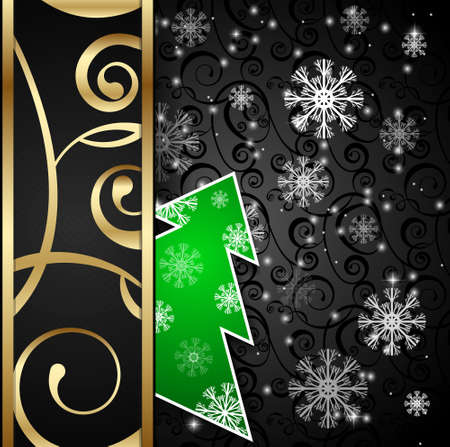 papercraft: Vector illustration: Black paper-craft vertical  postcard with green christmas tree, gold decoration and snowflakes