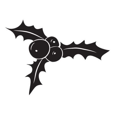 aquifolium: Vector silhouette of Christmas holly berry. Christmas symbol.