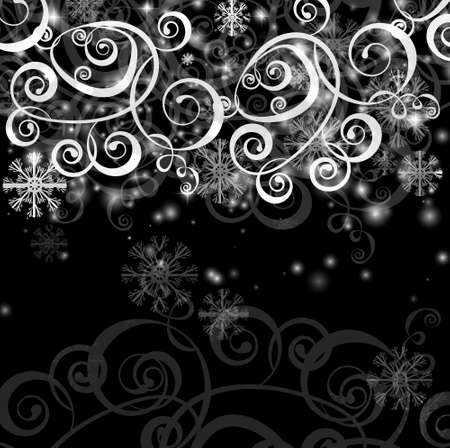 Elegant christmas black and white  background with snowflakes and lights