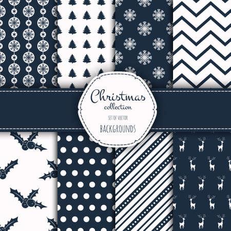 muster: Sammlung von nahtlosen Muster. Frohe Weihnachten und ein gutes neues Jahr! Set von nahtlosen Hintergrund mit traditionellen Symbolen: Schneeflocken, Kiefer, Holly Berry und geeignete abstrakte Muster.