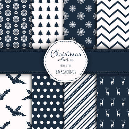 Collection of seamless patterns. Merry Christmas and Happy New Year! Set of seamless backgrounds with traditional symbols:  snowflakes, pine tree,holly berry and suitable abstract patterns.
