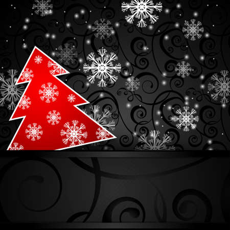 papercraft: Vector illustration: Black paper-craft horizontal  postcard with red christmas tree  and snowflakes