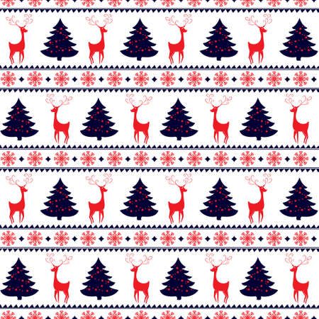 winter holidays: Merry Christmas and Happy New Year! Colorful vector seamless pattern with deers, pine trees and snowflakes for winter holidays design.