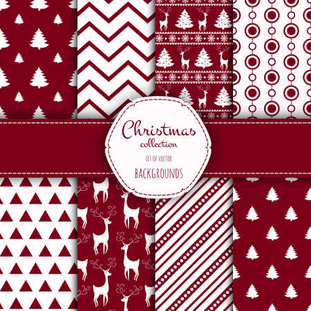 albero pino: Collection of seamless patterns with red and white colors.  Set of seamless backgrounds with traditional symbols: snowflakes, pine tree,deer and suitable abstract patterns.