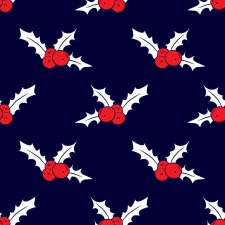 frutos rojos: Seamless pattern with holly berries