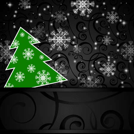 papercraft: Vector illustration: Black paper-craft horizontal  postcard with green christmas tree  and snowflakes Vectores
