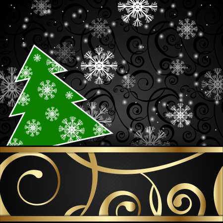 papercraft: Vector illustration: Black paper-craft horizontal postcard with green christmas tree, gold decoration and snowflakes Vectores