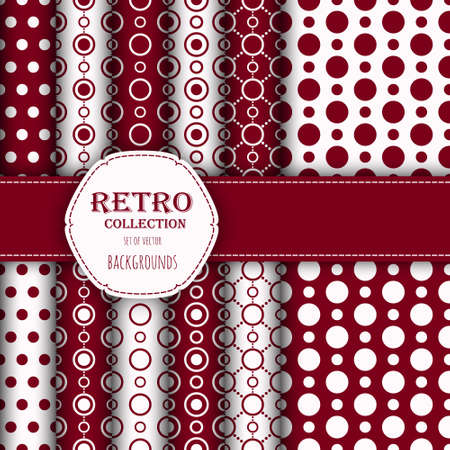 jumbo: Collection of jumbo and small polka dots seamless patterns in red, and white.