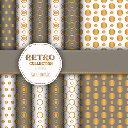 jumbo: Gold collection of jumbo and small polka dots seamless patterns in beige, and white.  Illustration