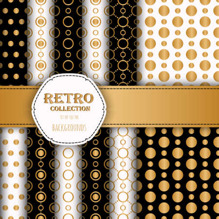 jumbo: Gold collection of jumbo and small polka dots seamless patterns.  Illustration