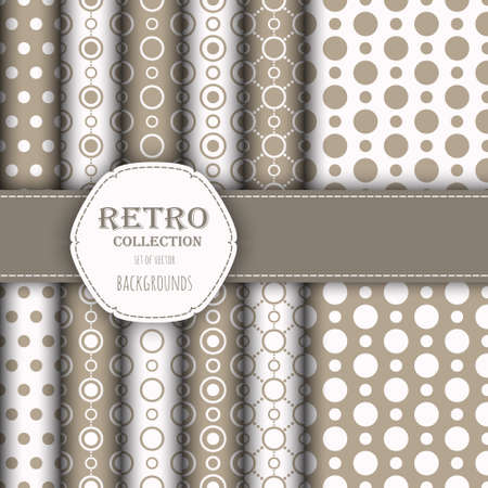 jumbo: Collection of jumbo and small polka dots seamless patterns in beige, and white.
