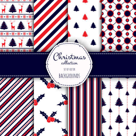 Collection of seamless patterns with red and white colors.