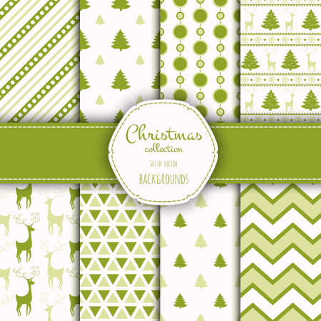 festive pattern: Collection of seamless patterns with red and white colors.
