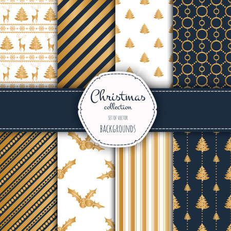 venado: colección de oro de patrones sin fisuras con los colores azul y blanco.