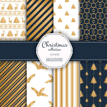 christmas background: Gold collection of seamless patterns with blue and white colors. Stock Photo