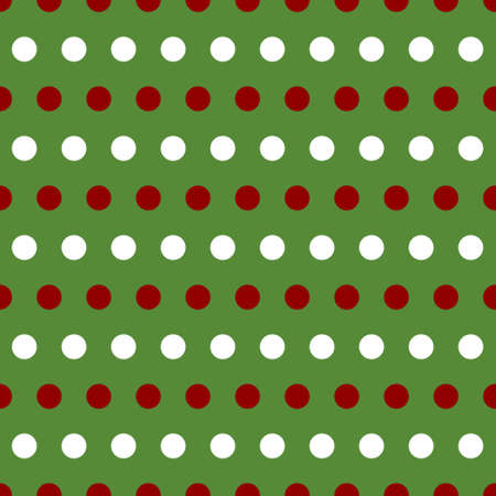 red polka dots: Patrón de retro transparente con blanco y rojo lunares en greenbackground
