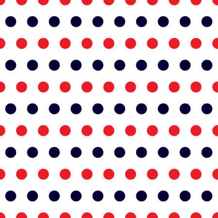 red polka dots: Modelo retro inconsútil con azul y rojo lunares en el fondo blanco