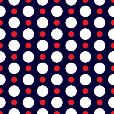 red polka dots: Modelo retro inconsútil con blanco y rojo de lunares sobre fondo azul oscuro