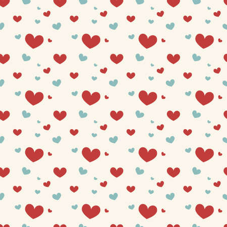 red wallpaper: Seamless geometric pattern with hearts. Vector repeating texture Illustration