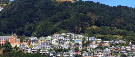 Colorful houses on Mount Victoria in Wellington, New Zealand