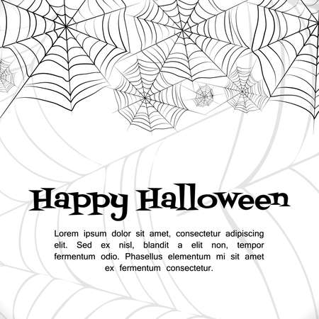 white bacground: Spiders web. Black and white vector bacground for halloween